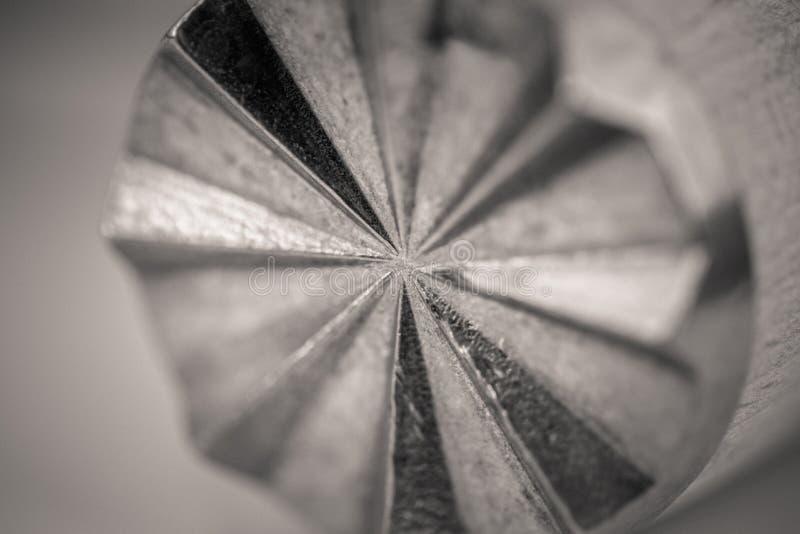 一种木肉软化剂的Monocrome宏观射击,金属末端 免版税库存照片