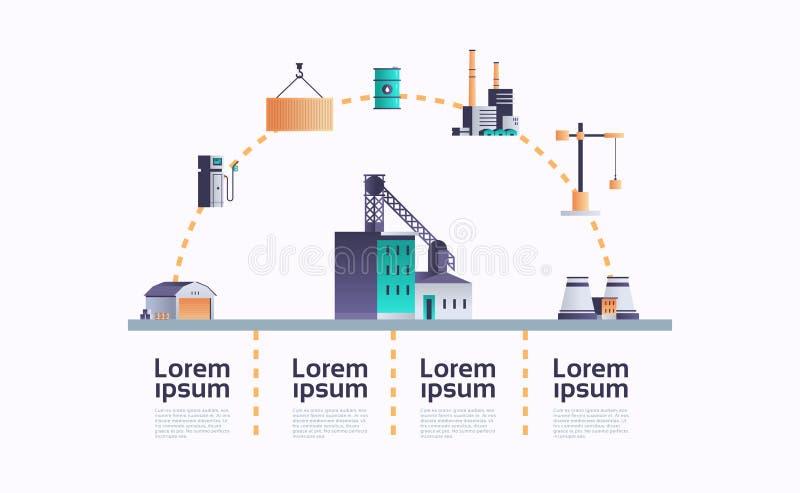 一种管道烟囱电站提取生产厂房图标信息模板厂 向量例证