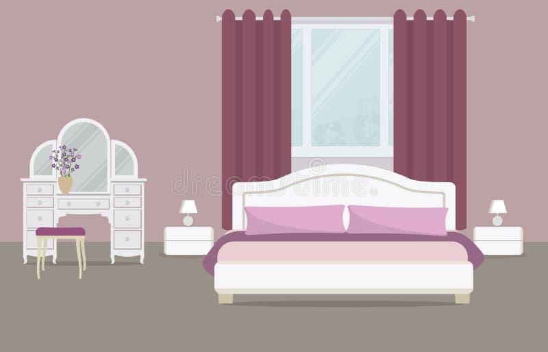 一种紫色颜色的卧室 皇族释放例证