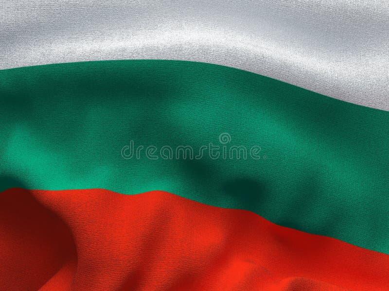 一种织品的纹理与保加利亚的旗子的图象的,挥动在风 库存照片