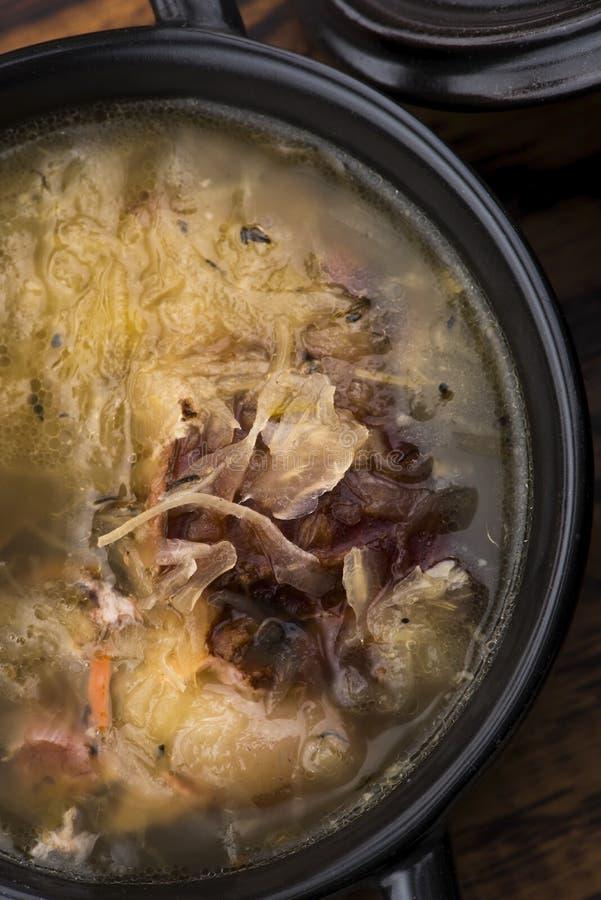 一种肉卷白菜汤 图库摄影