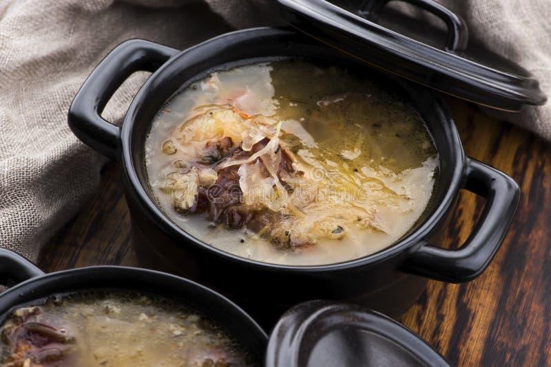 一种肉卷白菜汤 库存图片