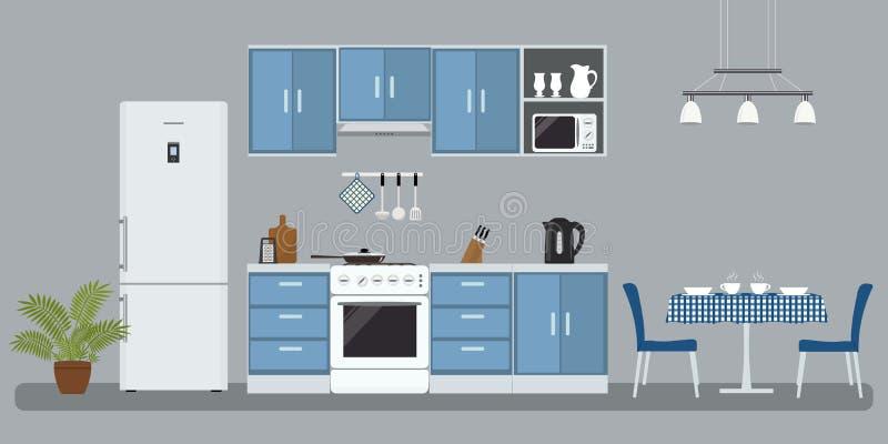 一种蓝色颜色的厨房 向量例证