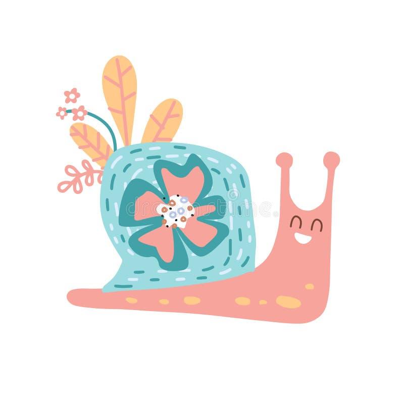 一种鲜叶蜗牛动物造型的可爱手绘育婴海报 烛台式矢量插图 皇族释放例证