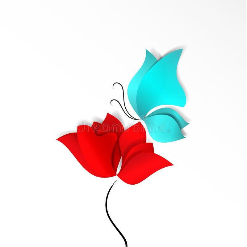 一红色抽象花、鸦片,郁金香或者玫瑰色和天蓝色或绿松石蝴蝶 春天明亮的纸删节的样式3d 向量例证