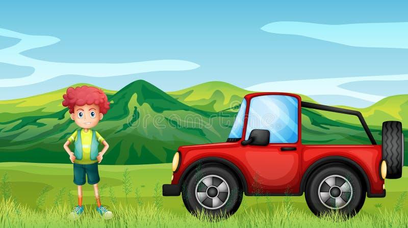 一红色jeepney和一个男孩小山的 皇族释放例证