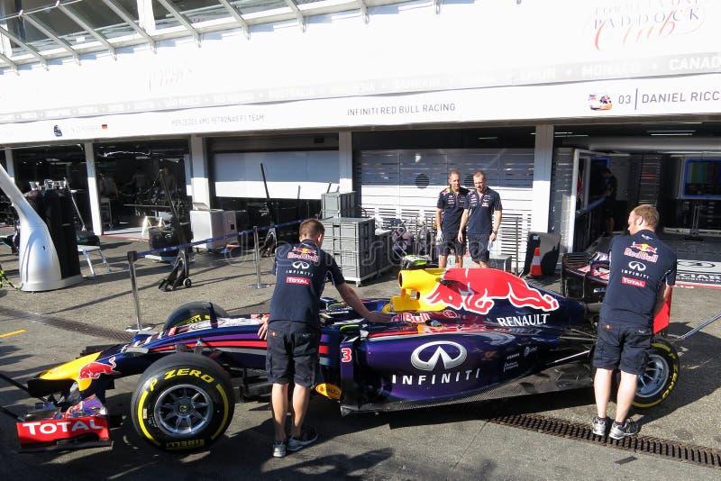 一级方程式赛车赛跑车的F1照片的红色公牛 免版税库存图片