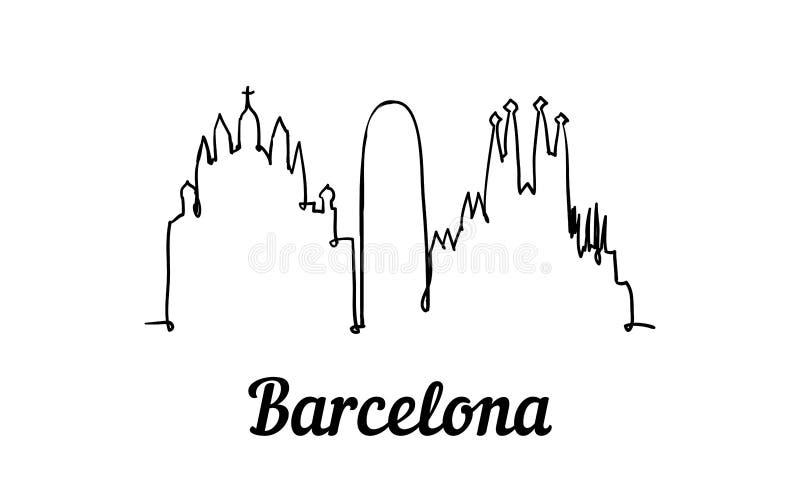 一线型巴塞罗那地平线 简单的现代minimalistic样式 皇族释放例证