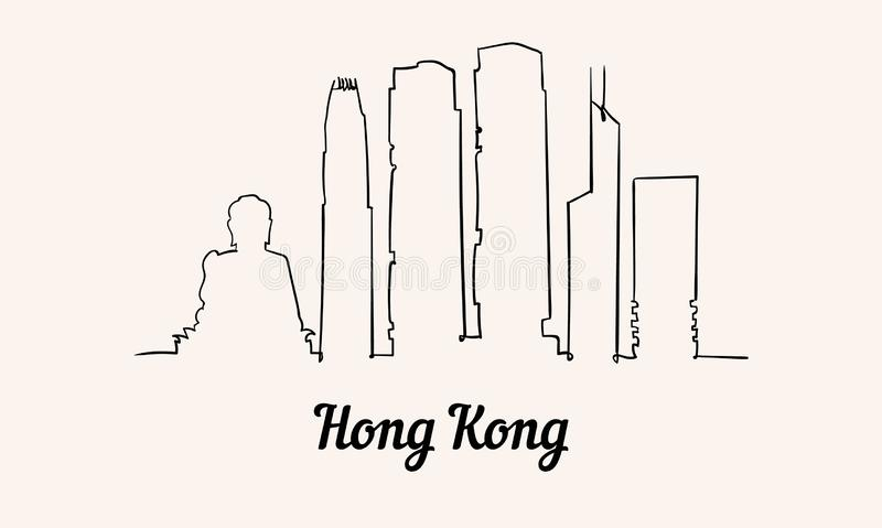 一线型香港剪影例证 向量例证