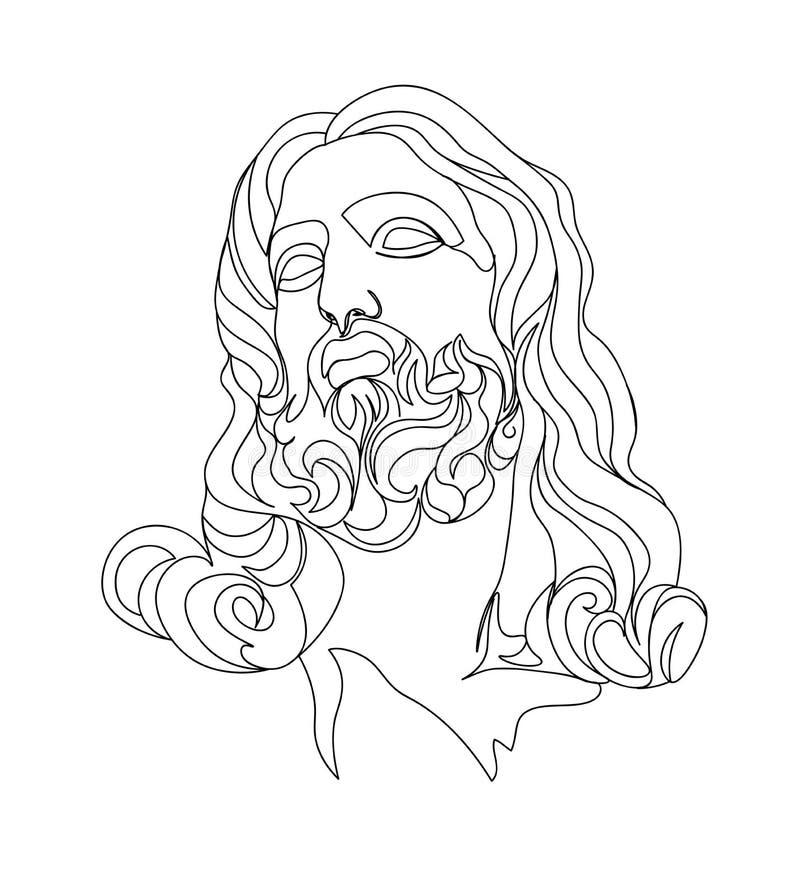 一线描剪影 雕塑例证 现代个别线路艺术,审美等高 向量例证