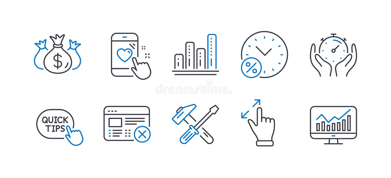 一组技术图标,如触摸屏手势、贷款百分比、锤子工具 矢量 库存例证