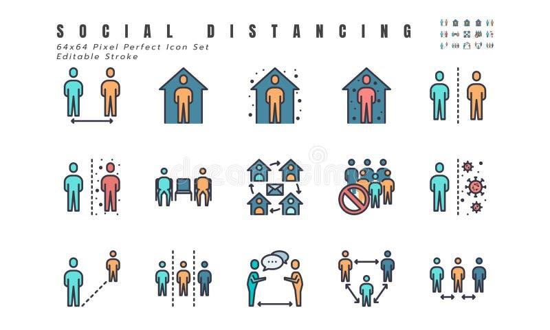 一组简单的社交疏离,冠状病毒疾病2019年Covid-19系列图标,如待在家,检疫,工作 库存例证