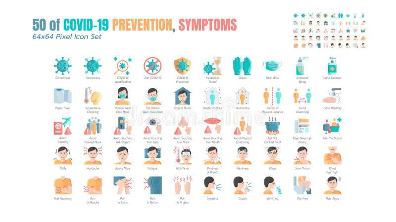 一组简单的Covid-19防止平面图标 诸如防护措施,冠状病毒,卫生保健,社会