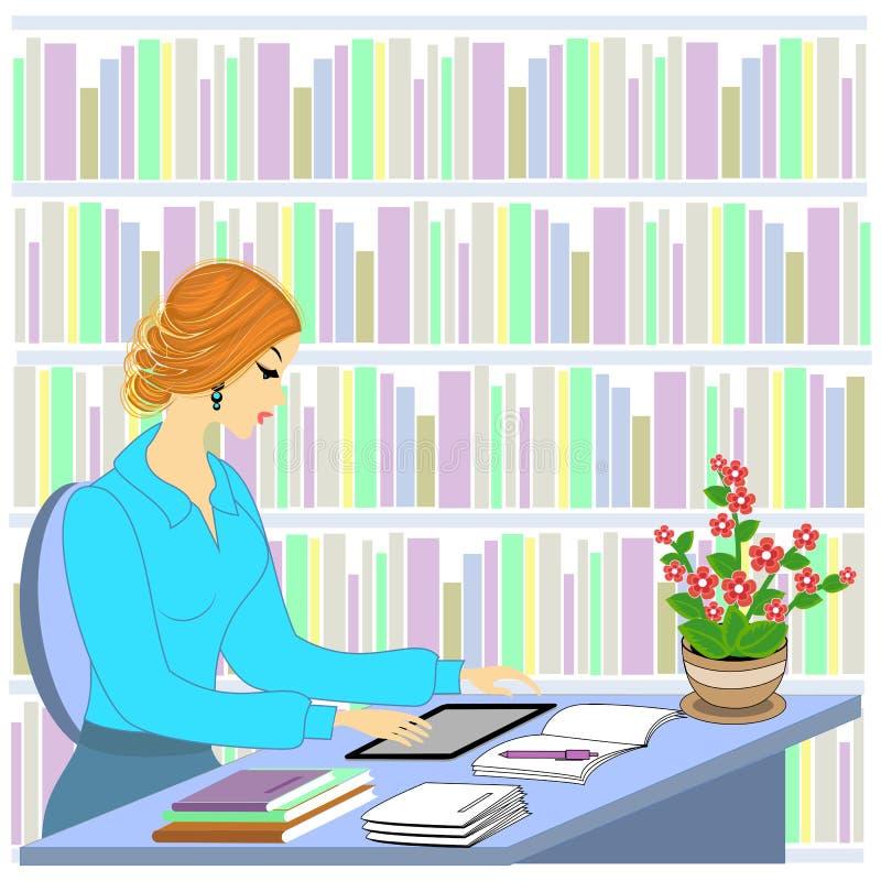 一美丽的少女的档案 女孩坐在一张桌上在图书馆里 妇女工作作为图书管理员 在架子附近与 皇族释放例证