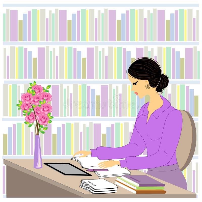 一美丽的少女的档案 女孩坐在一张桌上在图书馆里 妇女工作作为图书管理员 在架子附近与 库存例证