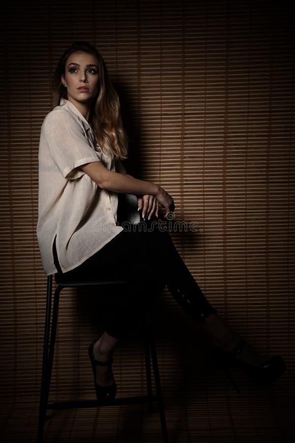 一美丽的年轻女人的秀丽画象有棕色长发的在深红背景 免版税库存图片