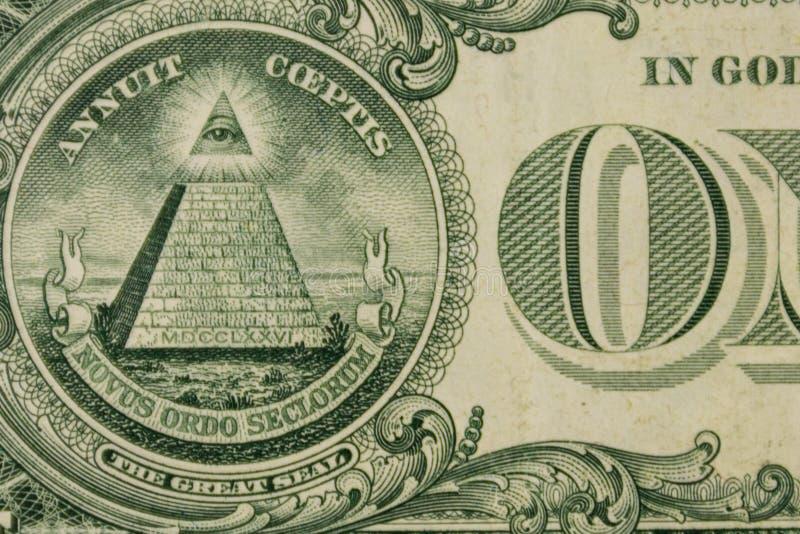 一美元钞票宏观射击  免版税库存照片