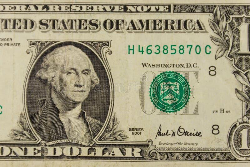 一美元钞票宏观射击  免版税图库摄影