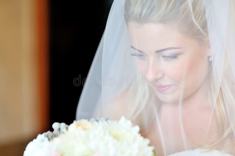 一美好新娘微笑的画象 免版税图库摄影