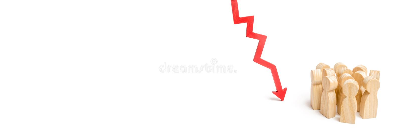 一群人下来和一个红色箭头 下跌的d的概念 免版税库存照片