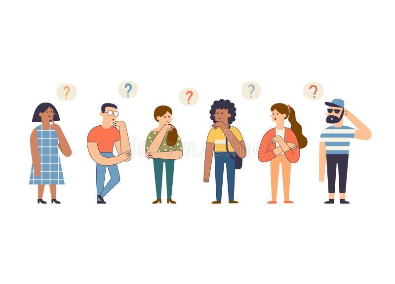 一群可爱的有识之士 卡通聪明男女思考与解决问题 滑稽的沉思角色 库存例证