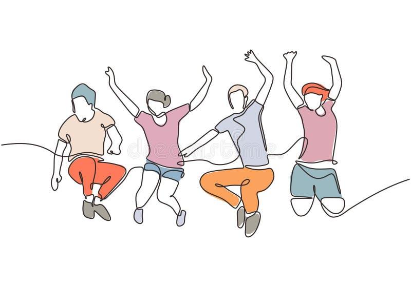 一群跳跃的人看起来很快乐,享受着自己的生活,连续画一条线 快乐社区团队成员的隐喻 皇族释放例证