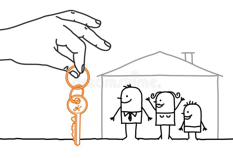 一臂之力和漫画人物-与新的家的家庭 皇族释放例证