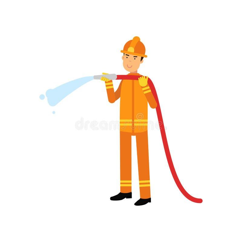 一致和防护盔甲的消防员,拿着熄灭火用水的水管 皇族释放例证