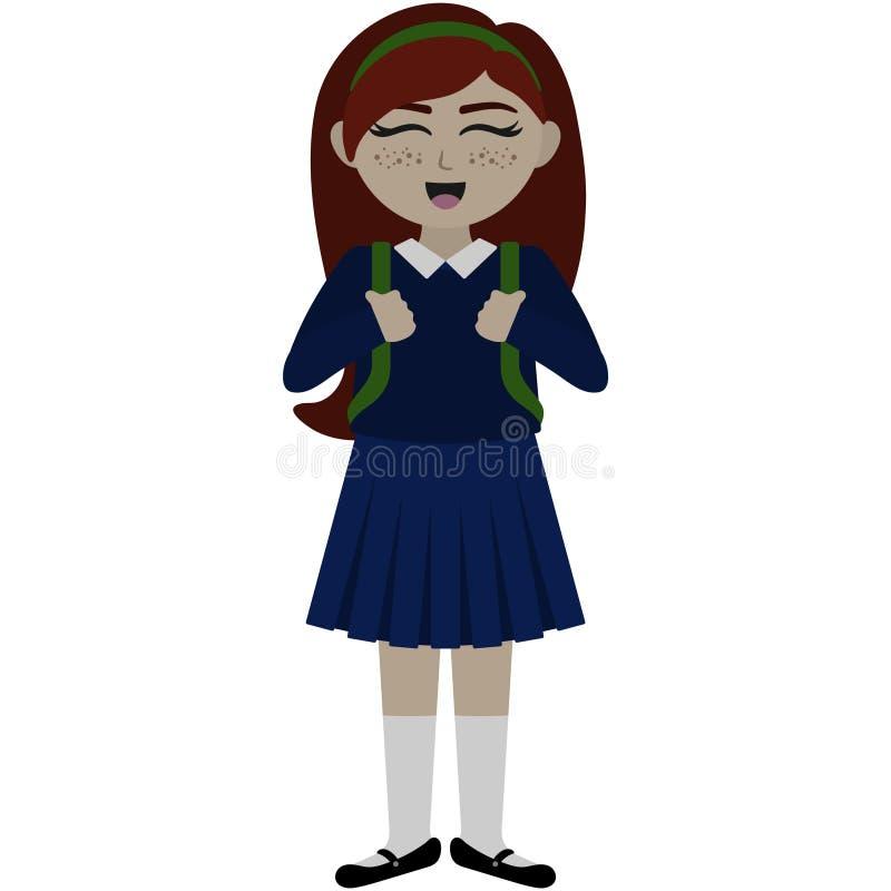 一致的例证的逗人喜爱的学校女孩 向量例证
