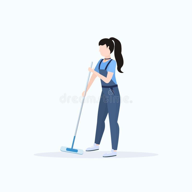 一致的擦的地板妇女擦净剂藏品拖把清洁服务概念全长平的白色的女性管理员 皇族释放例证