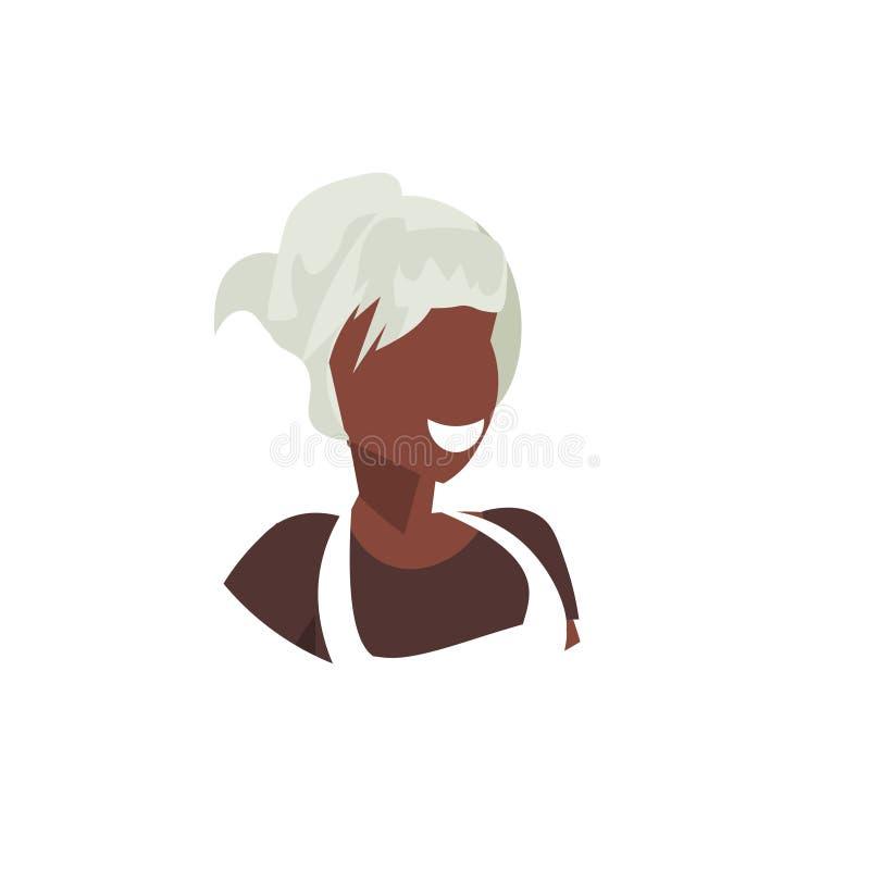 一致的面孔具体化餐馆职员专业职业概念女性动画片的非裔美国人的女服务员 向量例证