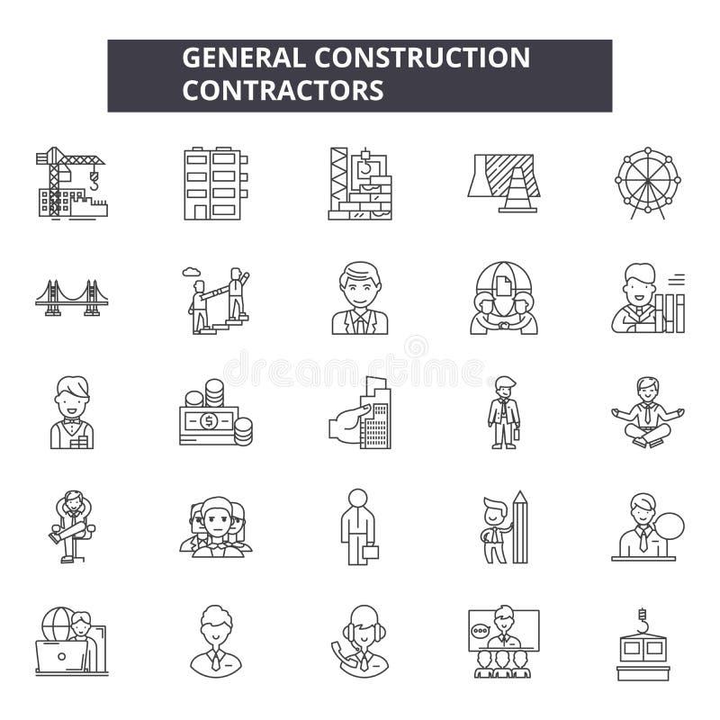 一般工程承包商排行象,标志,传染媒介集合,概述例证概念 库存例证