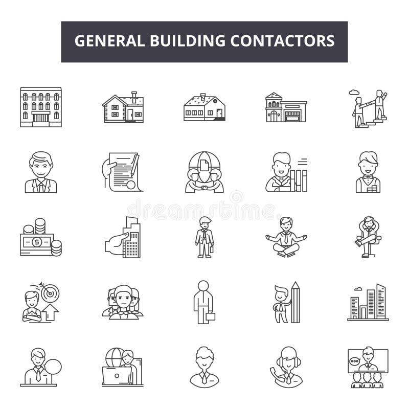 一般建筑承包商排行象,标志,传染媒介集合,概述例证概念 向量例证