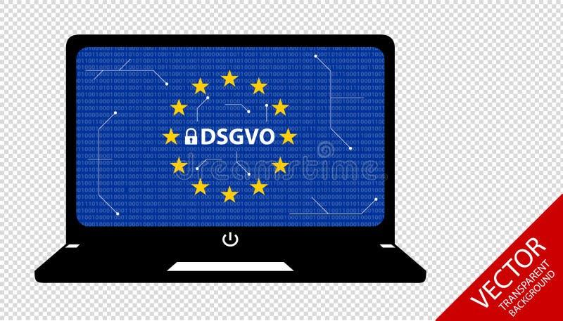 一般数据保护章程德国变化:Datenschutz Grundverordnung DSGVO -位和电路图在笔记本 库存例证