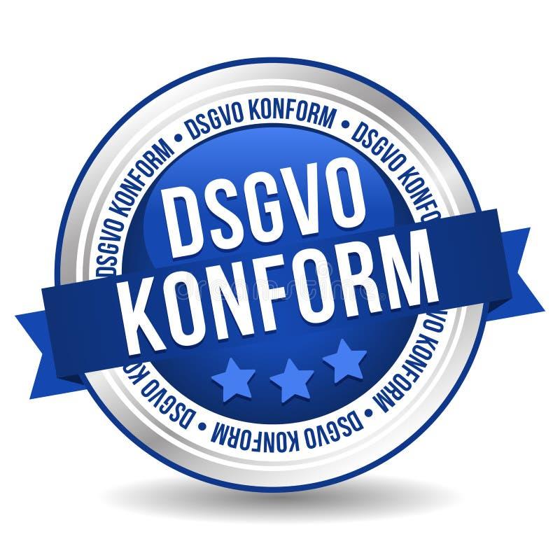 一般数据保护章程按钮-与丝带的网上徽章营销横幅 德国翻译:DSGVO Konform 库存例证