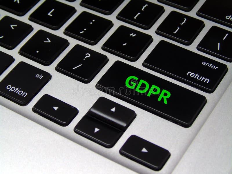一般数据保护章程GDPR -膝上型计算机按钮 免版税图库摄影