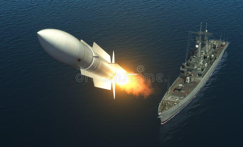 从一艘军舰的导弹发射在公海 向量例证