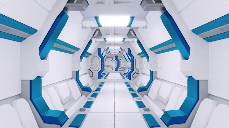 一艘太空飞船的白色走廊有蓝色装饰的 科学幻想小说航天器3d illustartions 库存例证