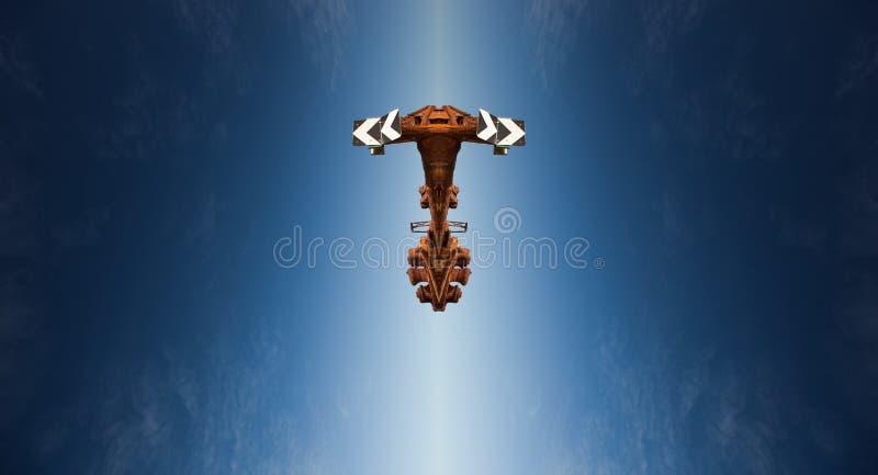 一艘抽象太空飞船的科幻场面在轨道的 免版税库存图片