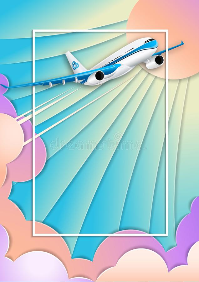 一艘白色客轮的飞行 框架例证文本向量 紫外天空、太阳和积云 被切开的纸的作用 库存例证