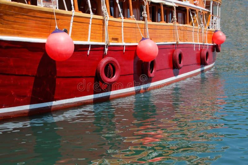 一艘美丽的大帆船的特写镜头 库存照片