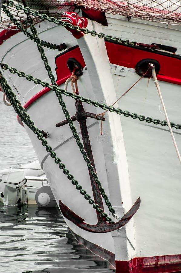 一艘老帆船的弓 库存照片