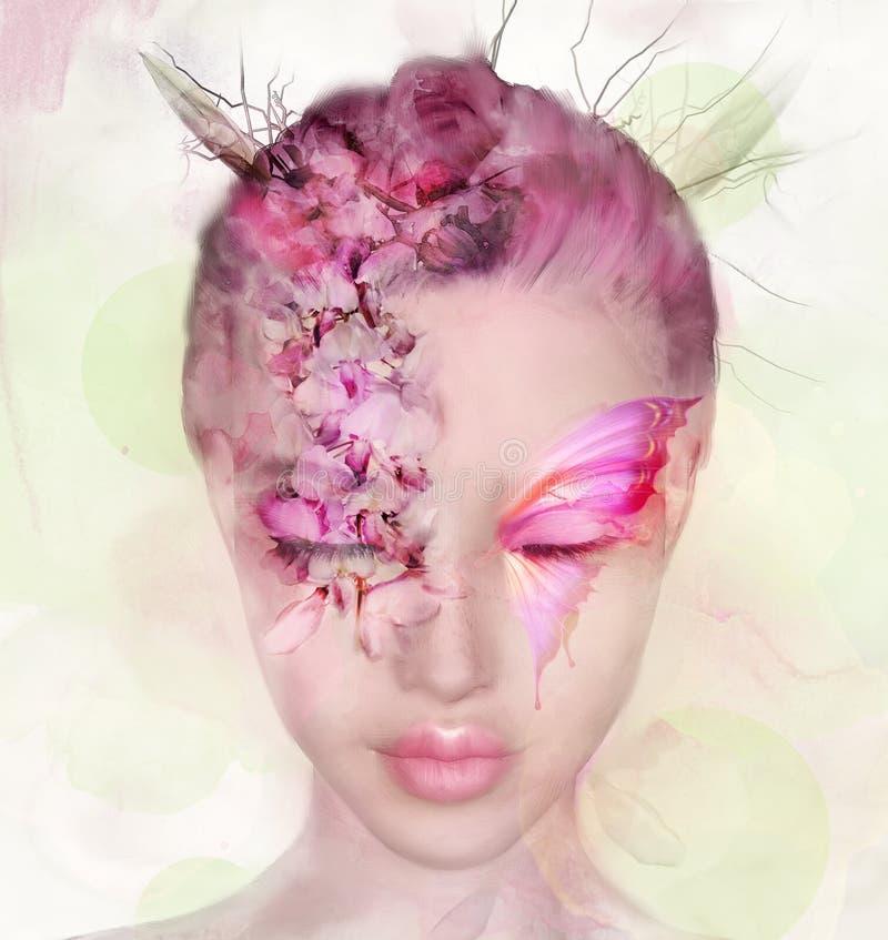 一花姑娘的画象有蝴蝶的 向量例证
