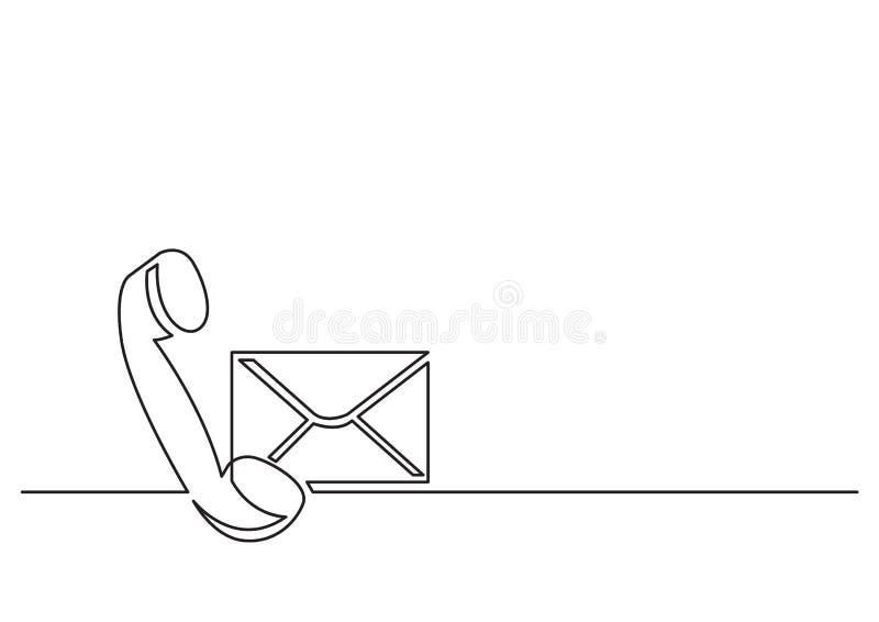一被隔绝的传染媒介对象线描-电话接收器和邮件信封 向量例证