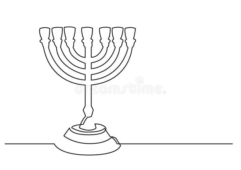 一被隔绝的传染媒介对象-七个分支menorah线描  库存例证