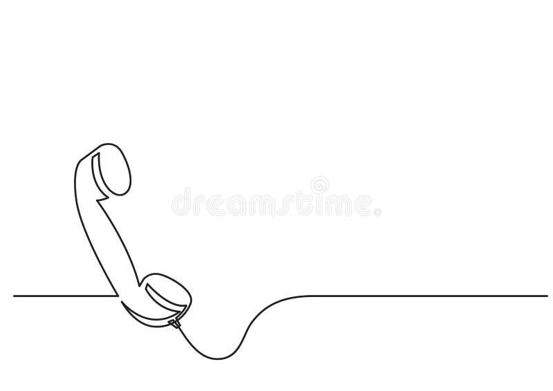 一被隔绝的传染媒介对象-电话接收器线描  库存例证