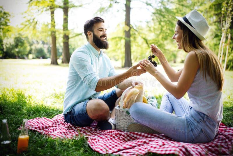 一起享受一顿野餐的愉快的年轻夫妇在公园 免版税库存照片