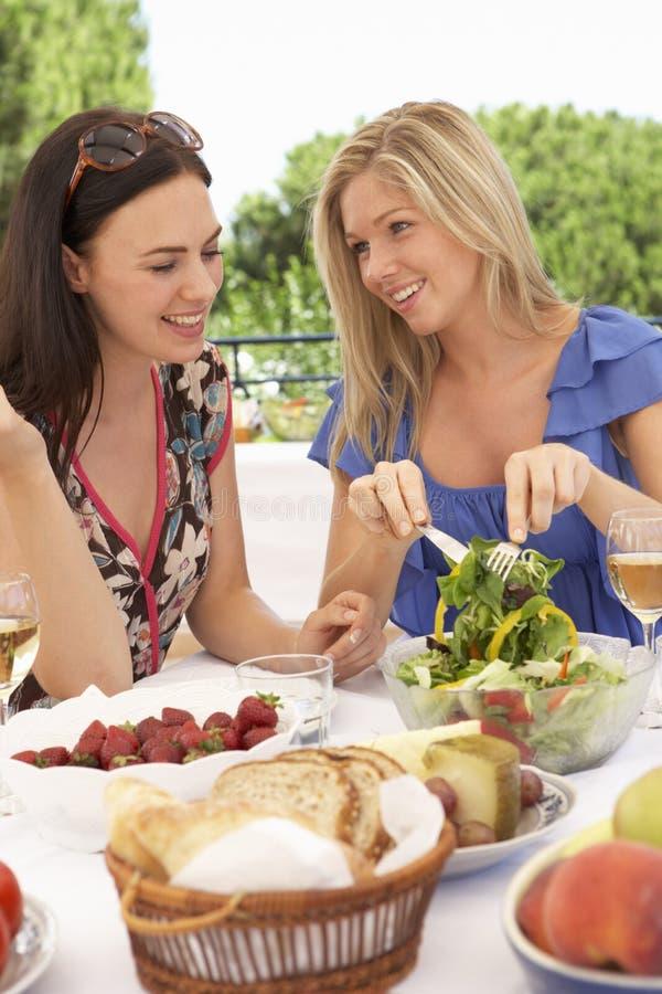 一起享受室外膳食的两个少妇 免版税图库摄影
