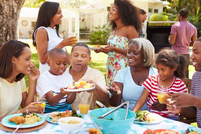 一起享受膳食的多一代家庭在庭院里 免版税库存照片