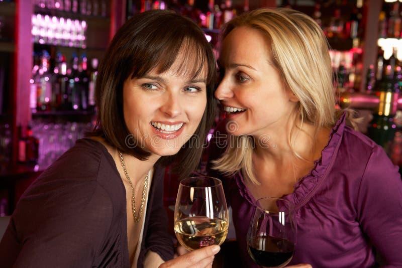 一起享受饮料的二名妇女在棒 库存图片